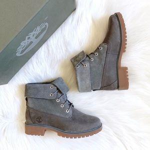 Timberland Jayne Medium Grey Roll Top Boots